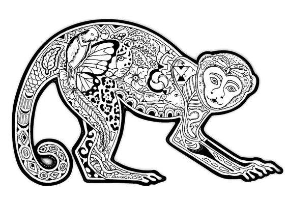 Free coloring page «coloring-difficult-monkey». A coloring page with a monkey full of various plant patterns
