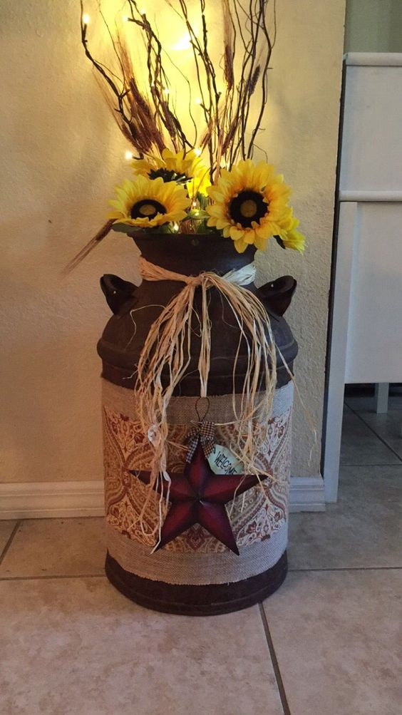 Finally i actually made something from an idea on for Old milk can decorating ideas