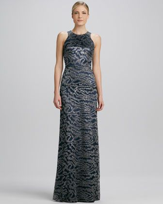 Sleeveless Curvy Sequined Lace Gown  by David Meister Signature at Bergdorf Goodman.