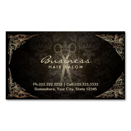 Vintage Dark Damask Hair Salon Appointment Business Card. Make your own business card with this great design. All you need is to add your info to this template. Click the image to try it out!