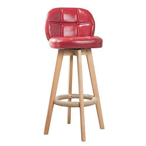 Wooden Bar Stools With Ergonomics Backrest And Hemp Rope Footrest