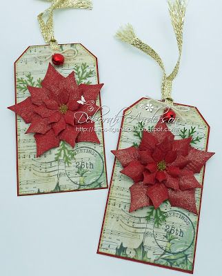 May 2015 - Christmas tags using Poinsettia die
