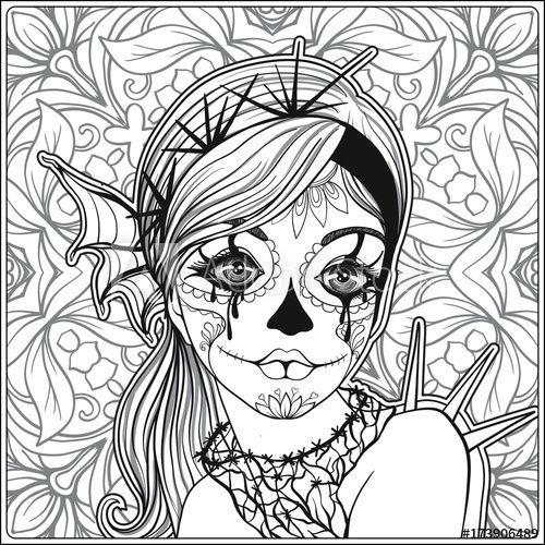 Portrait Of A Young Beautiful Girl In Halloween Or Day Of The Dead Coloring Page Adobe Stock Skull Coloring Pages Coloring Books Fairy Coloring Pages