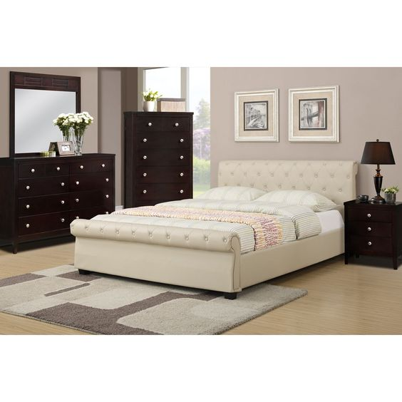 This four-piece Bedroom set amplifies your bedroom with a style and classic simplicity. Set includes a queen bed, matching dresser and nightstand, and a mirror.