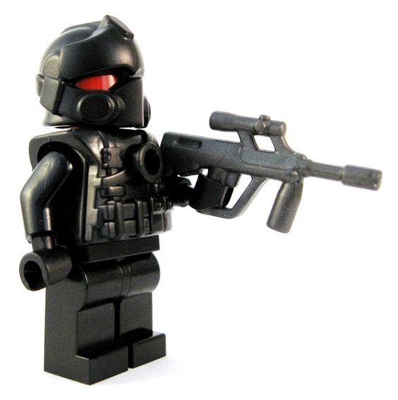 ABP - custom lego gun highlight. Custom Lego weapons are a big part of what we do at BrickWarriors.  And the guns make up quite a bit of that!  This week we're featuring the Austrian Bull Pup.  This custom Lego gun features a sleek, unique design that will be sure to impress even the toughest of enemies!  Pow pow! #custom #Lego #guns #brickwarriors #weapons #minifigures #scifi #abp #rifle #army #military