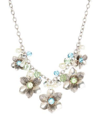 Another great find on #zulily! Silvertone & Blue Rhinestone Floral Necklace #zulilyfinds