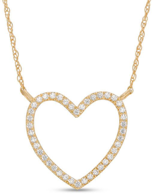 Zales 1/10 CT. T.w. Diamond Heart Outline Necklace in 10K Gold AxKidp6D