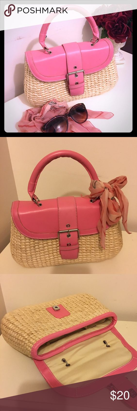 Cute straw handbag Super cute straw handbag. Used once, very clean interior. In perfect condition. Color: baby pink and cream. Liz Claiborne Bags Totes