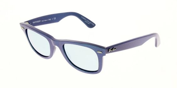 Ray Ban Sunglasses RB2140 611330 50 is designed for unisex and the frame is blue. This style has a small - 50mm - lens diameter. The bridge size for this model is universal and the side length is standard. This adult designer #sunglasses model is a plastic, #wayfarer shape with a full rimmed frame. #RayBan #theopticshop