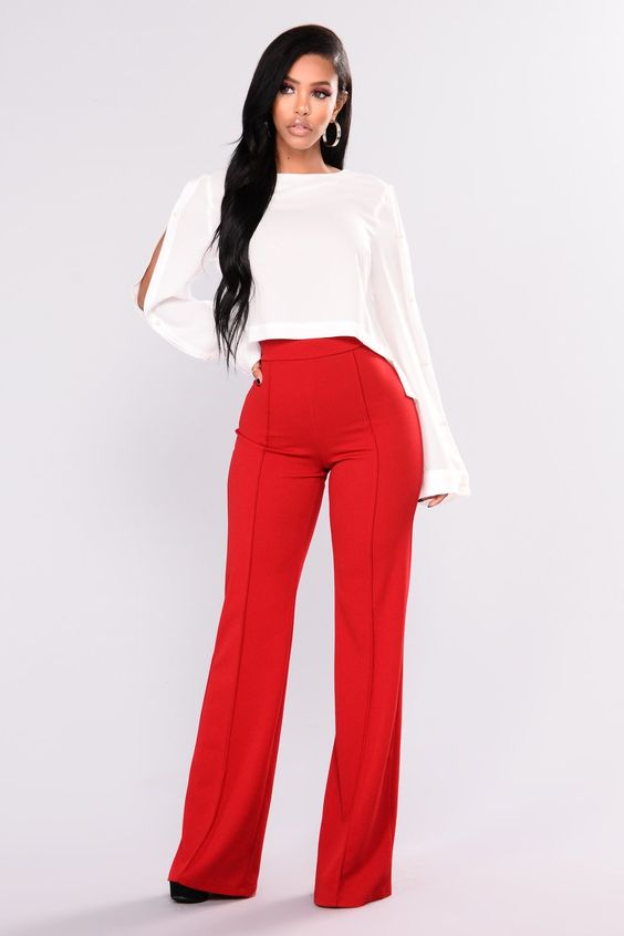 Victoria High Waisted Dress Pants - Ruby
