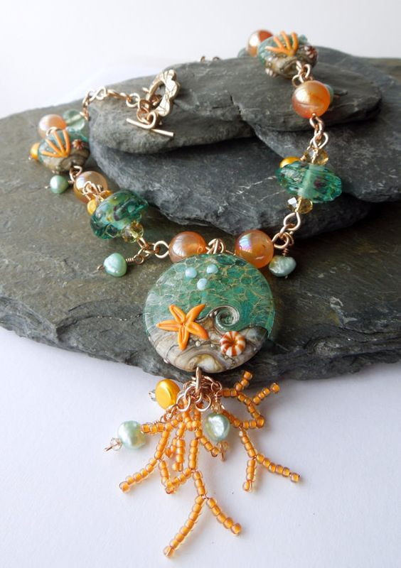 Coral Bay lampwork and semi precious bronze by LouiseGoodchild, £58.00.  A lovely way to create seed bead and wire coral branches.
