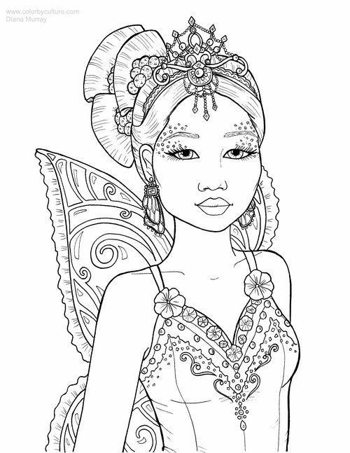 Christmas Portraits Set Of 5 Color By Culture Fairy Coloring Fairy Coloring Pages Fairy Artwork