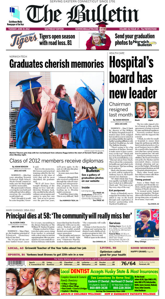 Tuesday, June 19, 2012 - Southeast Edition Subscribe to The Bulletin today: http://www.norwichbulletin.com/carousel/x465797803/ONLY-IN-PRINT-Stories-exclusively-in-today-s-Bulletin #ctnews #newlondoncounty #windhamcounty
