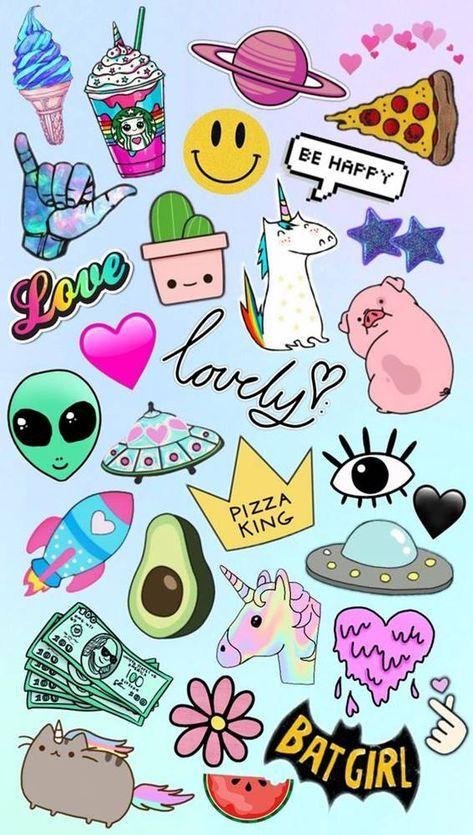 Para Celular Feminino Colagem Papel De Parede Emoji