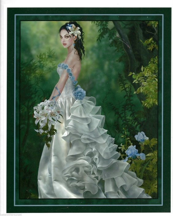 Nene Thomas Print Princess Lyrahe Bride Wedding Dress Fantasy Art Blue Iris 8x10