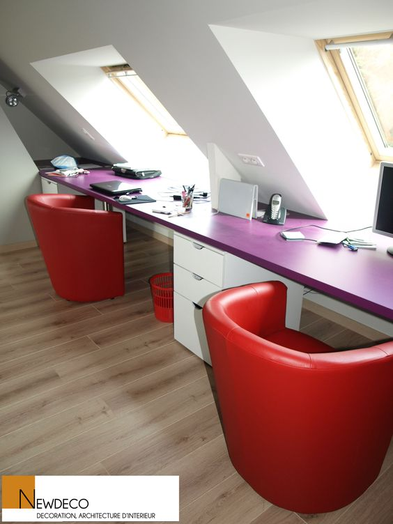 Bureau sur mesure bureau sous combles double bureau am nagement bureau office for Photo amenagement combles