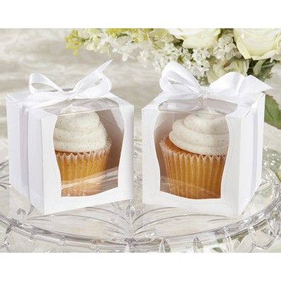 """""""Sweetness & Light"""" Cupcake Boxes   Nuptial Knick Knacks  Celebrate your wedding with our """"Sweetness and Light"""" cupcake boxes! Sold in a set of twelve, each cupcake box features a clear display front and is tied with a white ribbon. They are perfect for cupcakes, cake slices, or any sweet treat. These boxes make adorable take home wedding favors to hold treats your wedding guests to enjoy."""
