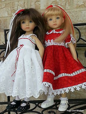 Festive-Red-and-White-dress-by-Eileen-for-Dianna-Effner-Little-Darling-13-Doll. SOLD for $96.03 on 12/3/14.