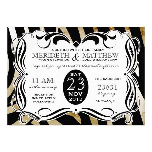 Vintage Calligraphy Zebra Wedding Invite