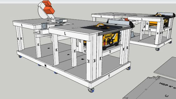 Mobile Workbench with built-in table and mitre saws | 3D Warehouse