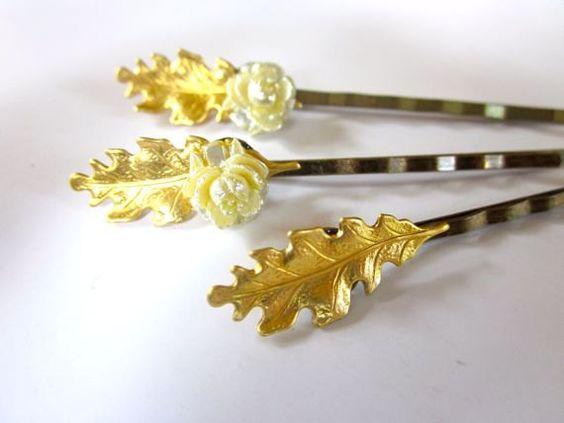 Bridal Gold Leaf Hair Accessories Clips Woodland Bobby Pins. $18.00, via Etsy.#hair#accessories#wedding#bridal_hair