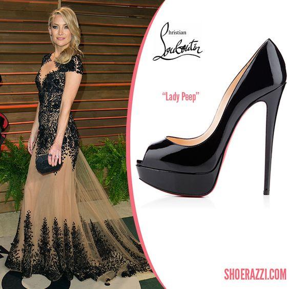 Kate Hudson in Christian Louboutin Black Patent Leather Lady Peep Platform Pumps - ShoeRazzi
