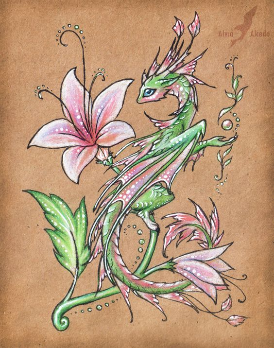 Wild flower dragon by =AlviaAlcedo on deviantART Check out her DeviantArt Gallery -- she has many more beautiful and fantastic paintings and other really neat stuff!