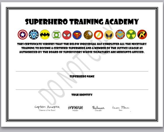 superhero training certificate superhero birthday part