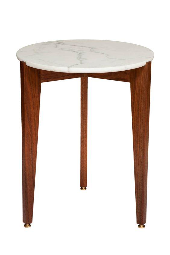 Walnut Tripod Side Table with Calcutta Marble Top   1stdibs.com