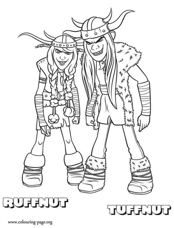 Meet Ruffnut and Tuffnut! They are fraternal twins and characters from How to Train Your Dragon movie. Enjoy with this amazing coloring page!