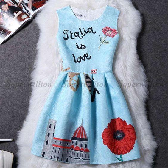 New Summer Print Dresses Women Sleeveless Short Flower Dress Female Vestido A-Line Casual Floral Knee Dress