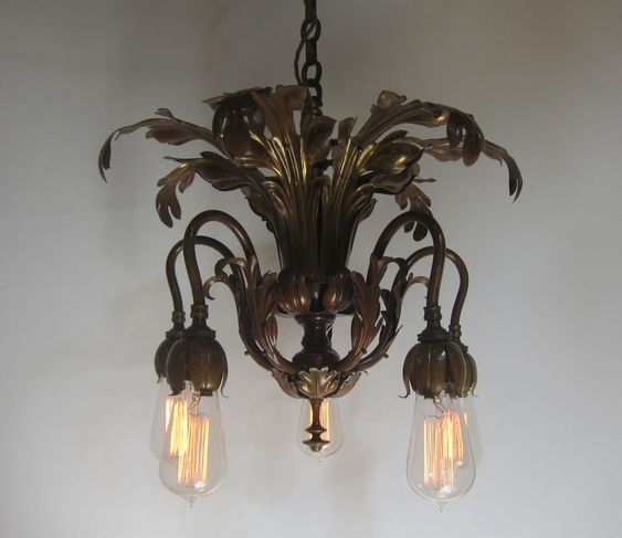 English early electric five arm ceiling light with an acanthus leaf design and complemented by vintage Edison style bulbs. www.antiquelightingcompany.com
