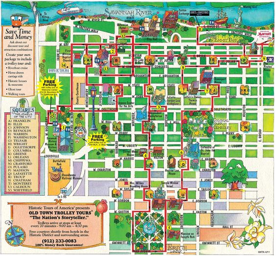 Savannah Old Town Trolley route map Savannah – Savannah Tourist Attractions Map