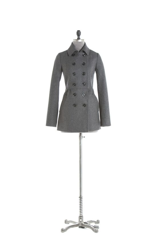 Wool double-breasted caban jacket