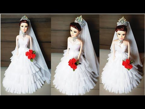 How To Decorate Christian Bridal Doll Barbie Doll White Gown