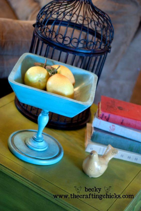 Wooden Pedestal Bowls made from thrift store finds.