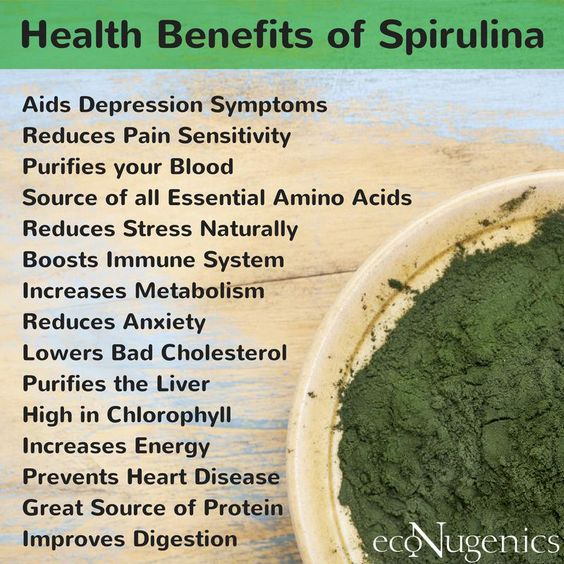 Spirulina, a blue-green algae, is a nutrient-dense superfood brimming with a rich supply of protein, complex carbohydrates, iron, and vitamins A, K, and B complex. It's also a very powerful antioxidant with potent anti-aging and anti-cancer properties. Commonly available in powder form, spirulina has a slight seaweed taste but you won't notice it in your favorite fruit smoothie!