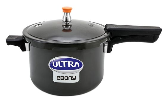 EBONY (6.5 L)  Buy Ebony 6.5 Litres induction base hard anodized pressure cooker online from Ultra brand store with free shipping all over India and get 5 years warranty.
