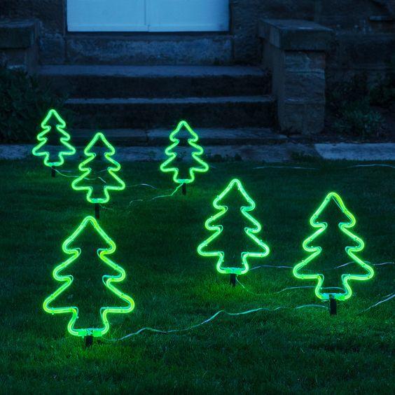 6 Neon Christmas Tree Stake Lights Outdoor Christmas Tree Decorations Decorating With Christmas Lights Outdoor Christmas Tree