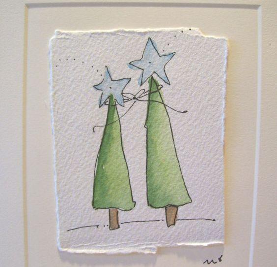 Watercolor card christmas zusammen shining bright mit - Aquarell vorlagen ...