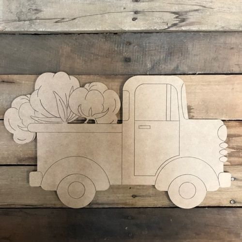 Old Style Cotton Truck Cutout Wooden Paintable Paint By Line With Images Christmas Door Hanger Cotton Painting Wooden Cutouts