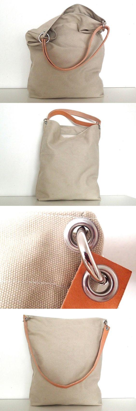 """Canvas-Tasche """"Tessa"""" hellbeige mit Leder"""