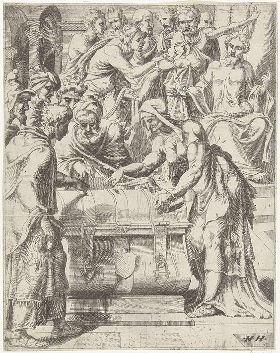 anoniem | Vrijgevigheid van de arme weduwe, attributed to Dirck Volckertsz Coornhert, 1548 | Christus wijst zijn leerlingen op een arme weduwe die wat geld in de offerkist werpt. Deze weduwe heeft meer gegeven dan de grote giften van de rijken, omdat zij dat geld niet kan missen. De prent is deel van een dertigdelige serie met prenten over de zondeval en Christus' passie.