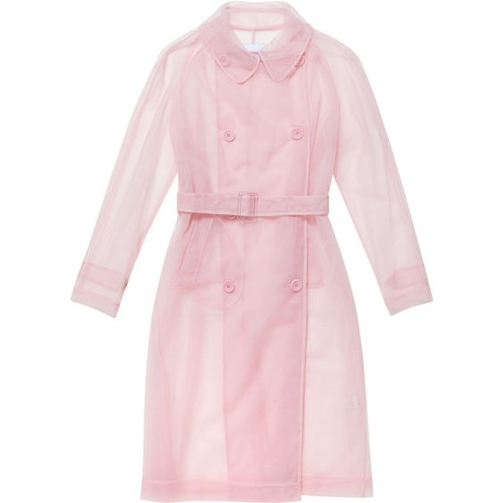 SIMONE ROCHA Tulle Trench Coat ($925) ❤ liked on Polyvore featuring outerwear, coats, double breasted long coat, pastel pink coat, double breasted trench coat, double-breasted coat and tulle coat