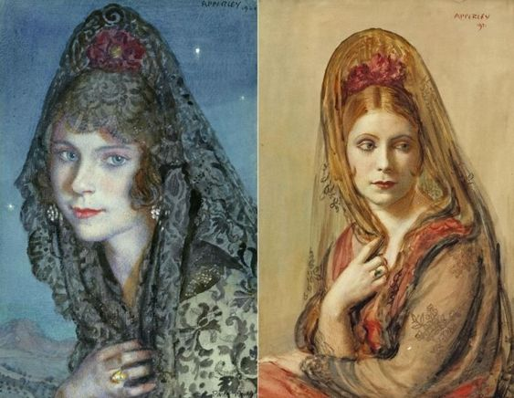 Женщины в традиционных испанских костюмах на картинах Джорджа Оуэна Эйперлея