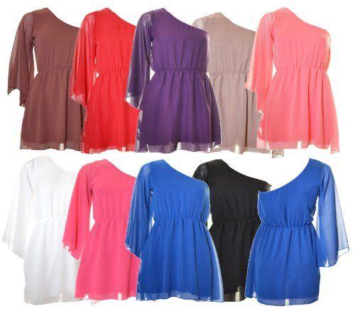 Mtch Womens Chiffon One Shoulder Mini Dress $16.99 #topseller