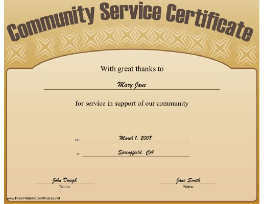 This community service certificate expresses great thanks for Certificate of service template