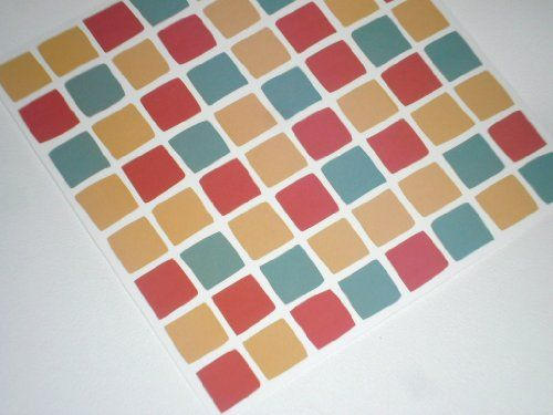 PACK OF 10 Multi Coloured Red Spanish Mosaic Tile Transfers Stickers.  Quickly Transform Your Bathroom Part 76