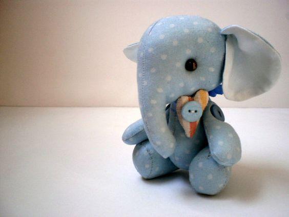 Little elephant toy Art cloth doll Stuffed Elephant Handmade toy $18