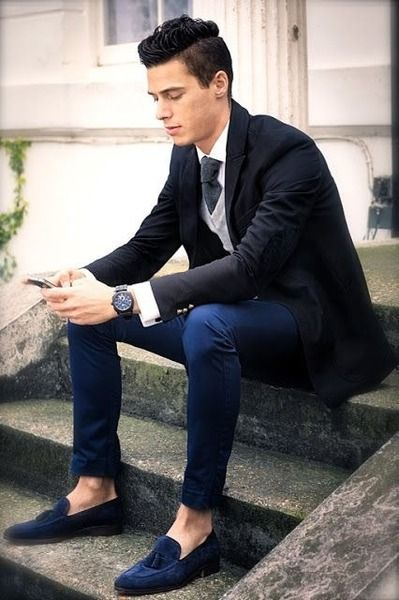 Black and Navy, with Blue Suede Tassel Loafers. Men's Fall Winter Fashion.